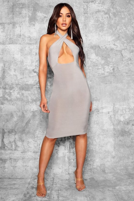 Womens Grey Slinky Twist Front Detail Midi Dress