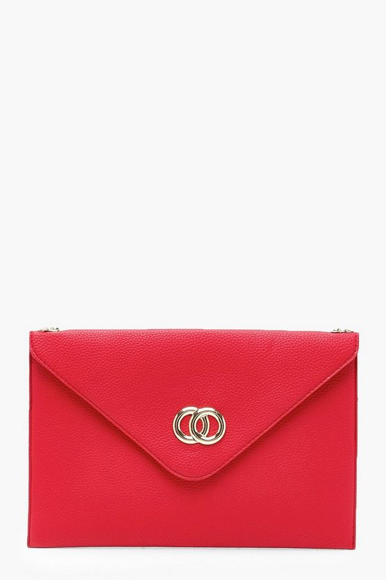 Womens Red Double Ring Lock Clutch & Chain