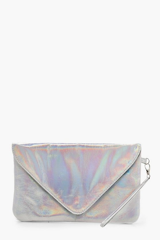 Rainbow Holographic Clutch