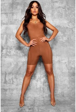 Womens Caramel Basic Scoop Neck Unitard