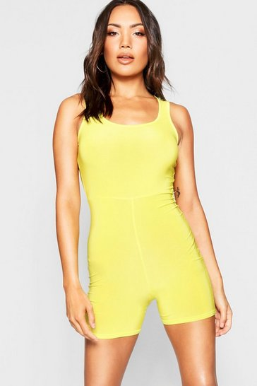 Womens Chartreuse Basic Scoop Neck Unitard