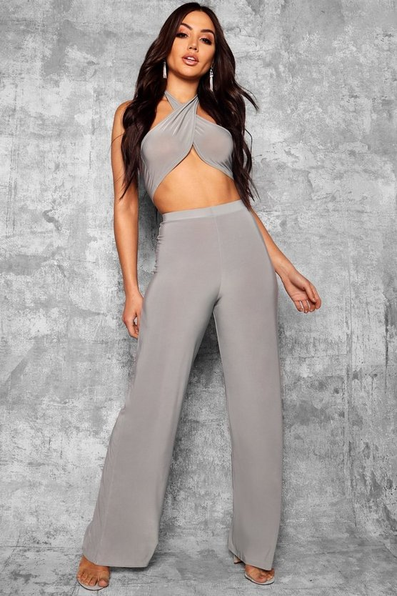 Womens Grey Slinky Wide Leg Trousers