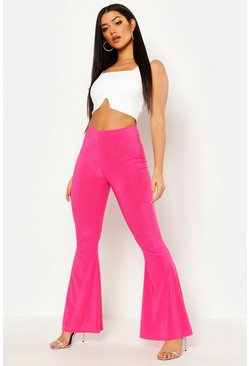 High Waist Basic Slinky Skinny Flares, Hot pink