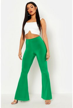 Leaf green High Waist Basic Slinky Skinny Flares