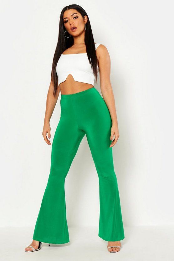Womens Leaf green High Waist Basic Slinky Skinny Flares