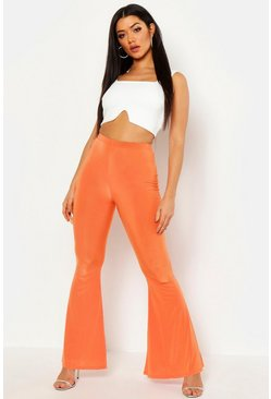 Womens Orange High Waist Basic Slinky Skinny Flares