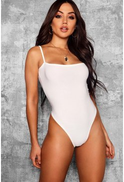 Womens Ivory Slinky Square Neck High Rise Bodysuit