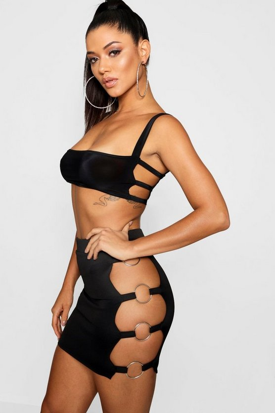 Slinky Cage Side Detail Crop Top, Donna