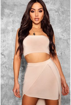 Womens Stone Slinky Bandeau Crop Top