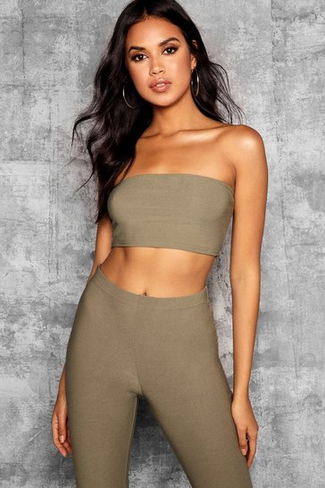 Womens Khaki Tall Bandeau Crop Top
