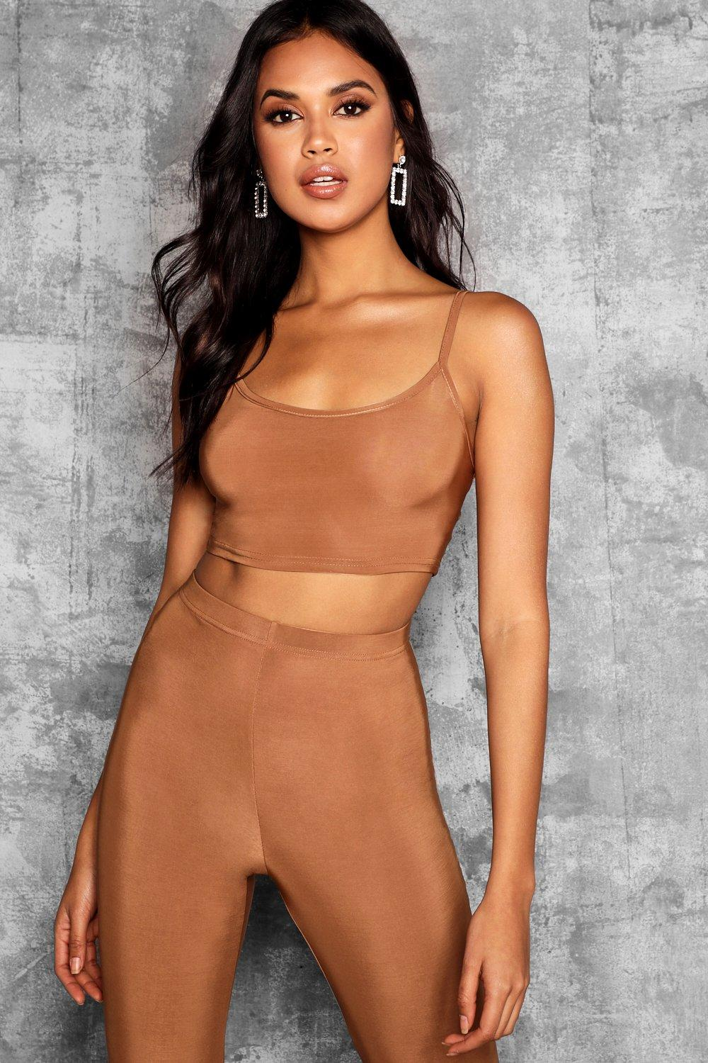 Strappy caramel Top Tall Slinky Crop dIaIUx