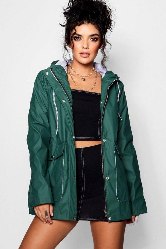 Womens Green PU Coated Windbreaker