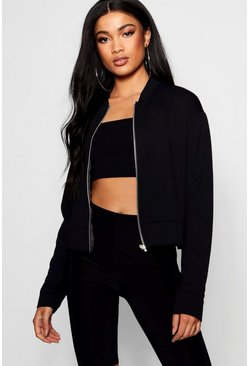 Womens Black Crepe Bomber Jacket