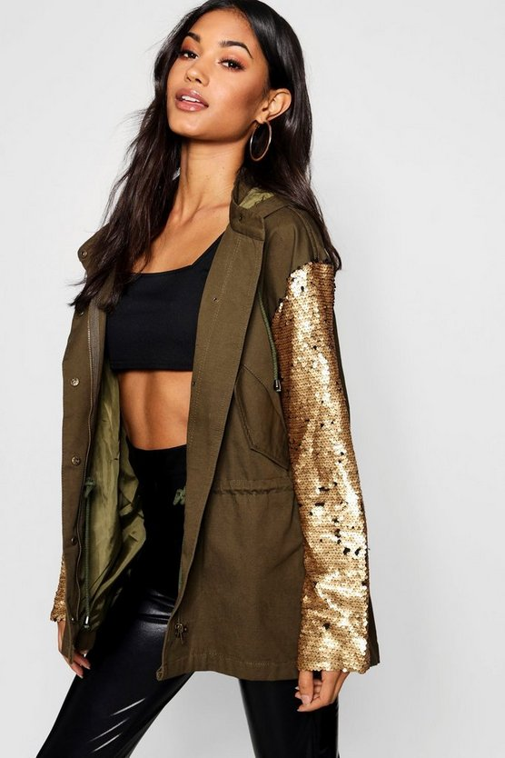 Womens Khaki Sequin Sleeve Utility Jacket