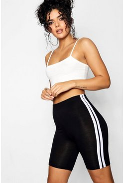 Womens Black Basic Double Side Stripe Cycling Short