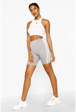 Womens Grey Basic Double Side Stripe Cycling Short