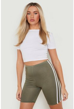 Womens Khaki Basic Double Side Stripe Cycling Short