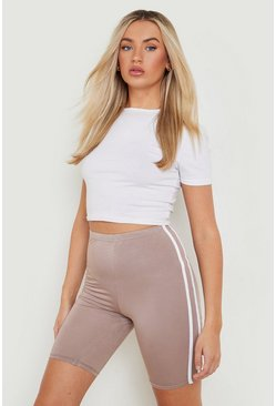 Basic Double Side Stripe Cycling Short, Mocha, Donna