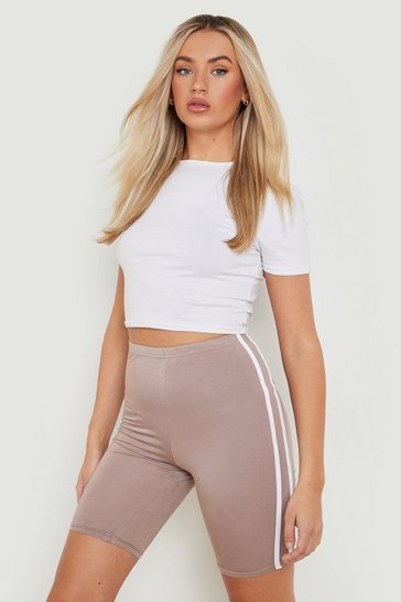 Womens Mocha Basic Double Side Stripe Cycling Short