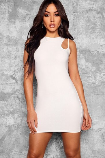 Ivory Strappy Racer Neck Bodycon Dress