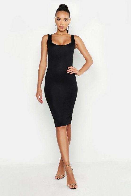 Womens Black Longline Square Neck Midi Dress
