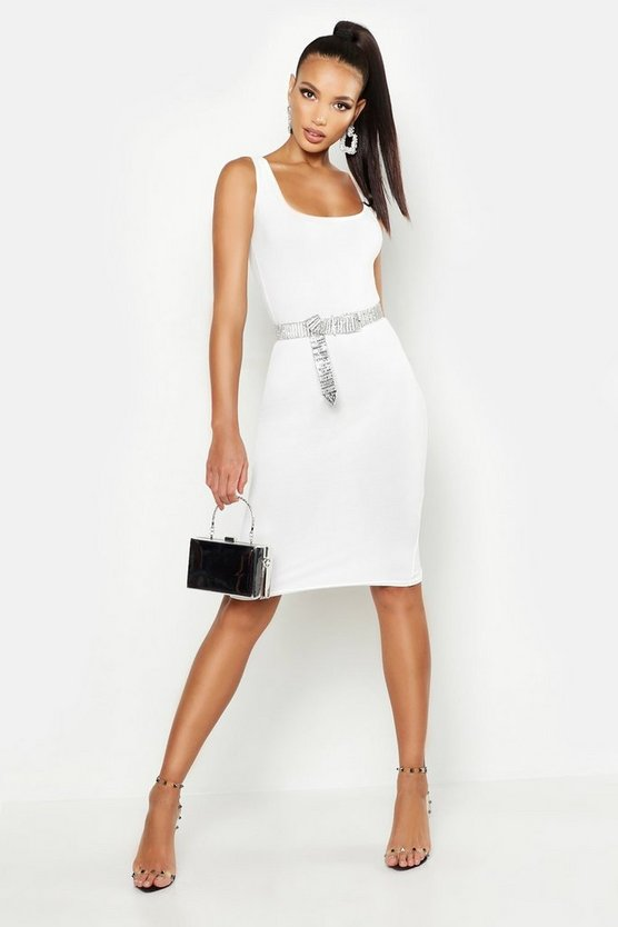 Womens Ivory Longline Square Neck Midi Dress