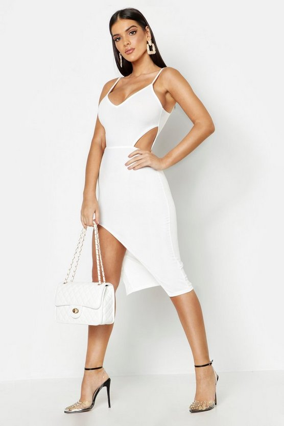 Womens Ivory Cut Out Detail Thigh Split Midi Dress