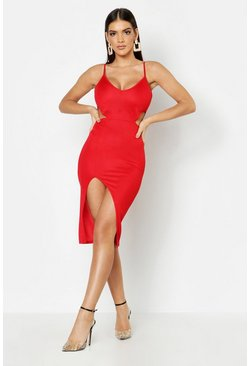 Cut Out Detail Thigh Split Midi Dress, Red, FEMMES