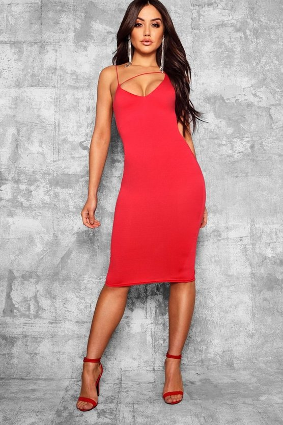 Womens Red Plunge Front Strap Detail Midi Dress