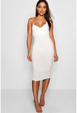 Womens Ivory Plunge Front Strap Detail Midi Dress