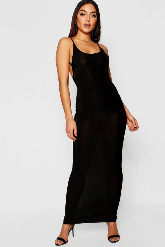 Slinky Open Back Detail Maxi Dress