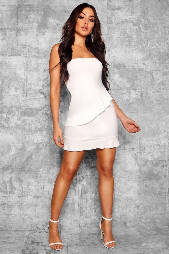 Bandeau Frill Hem Detail Bodycon Dress