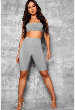 Basic Slinky Longline Cycling Shorts, Grey, Donna