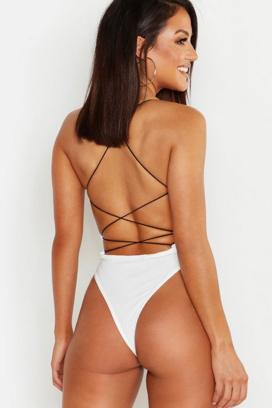 White High Rise Extreme Lace Up Back Body