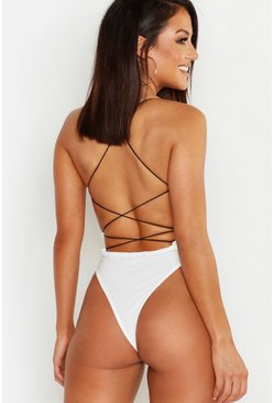 High Rise Extreme Lace Up Back Body, White