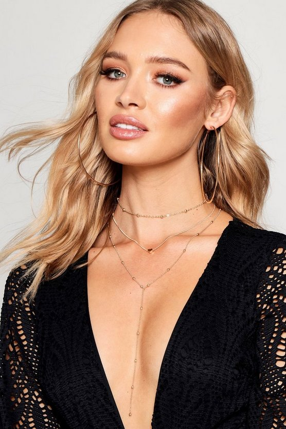 Layered Beaded Choker Plunge Necklace Pack