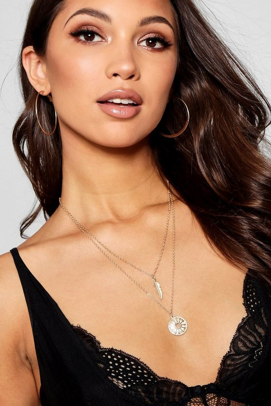 Leah Layered Feather And Cut Out Coin Necklace