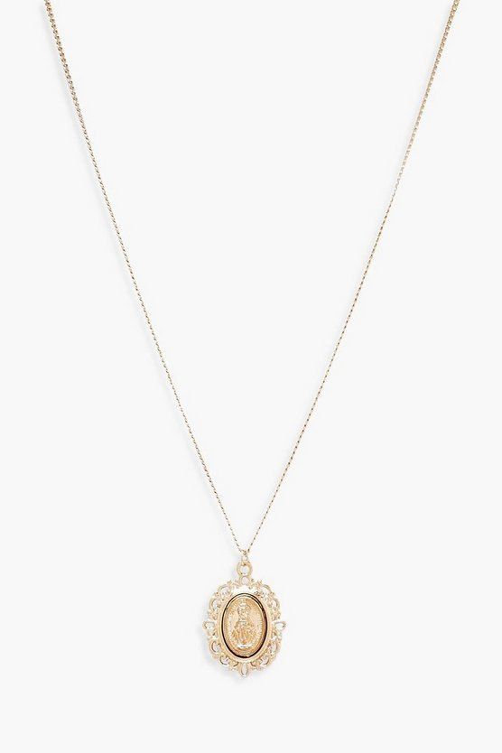 Womens Gold Oval Sovereign Coin Pendant Necklace