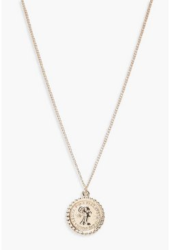 Womens Gold Sovereign Coin Pendant Necklace