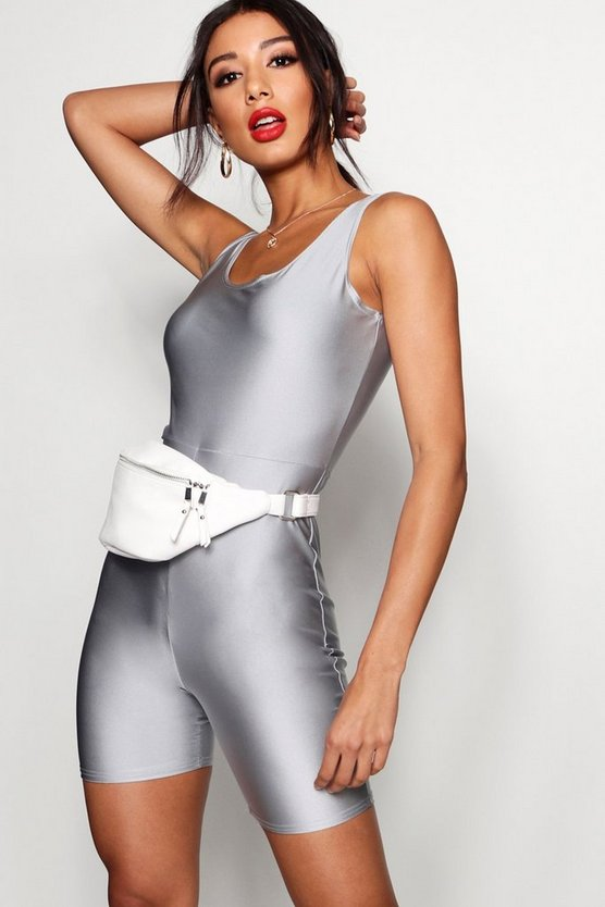 Womens Silver High Shine Cropped Unitard
