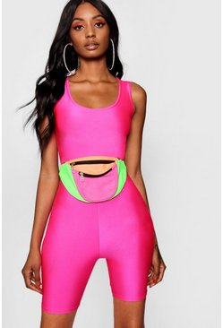 Neon-pink High Shine Cropped Unitard