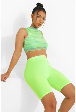 Womens Neon-green High Shine Cycling Shorts