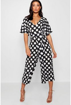 Womens Black Polka Dot Belt Jumpsuit