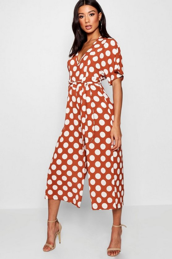 Womens Tobacco Polka Dot Belt Jumpsuit