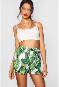 Womens Green Palm Print Tie Belt Shorts
