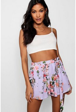 Womens Lilac Floral Tie Belt Shorts