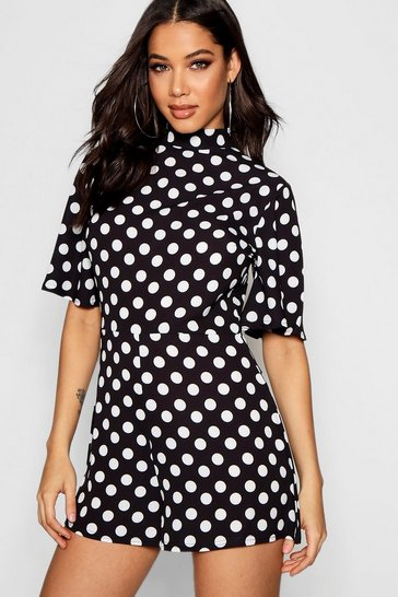 Womens Black High Neck Polka Dot Playsuit