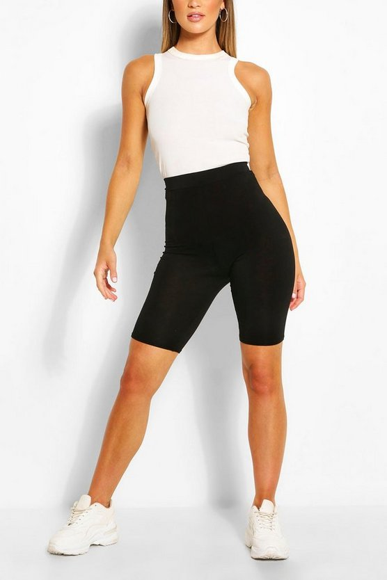 Womens Black Basic Solid Black Cycling Shorts