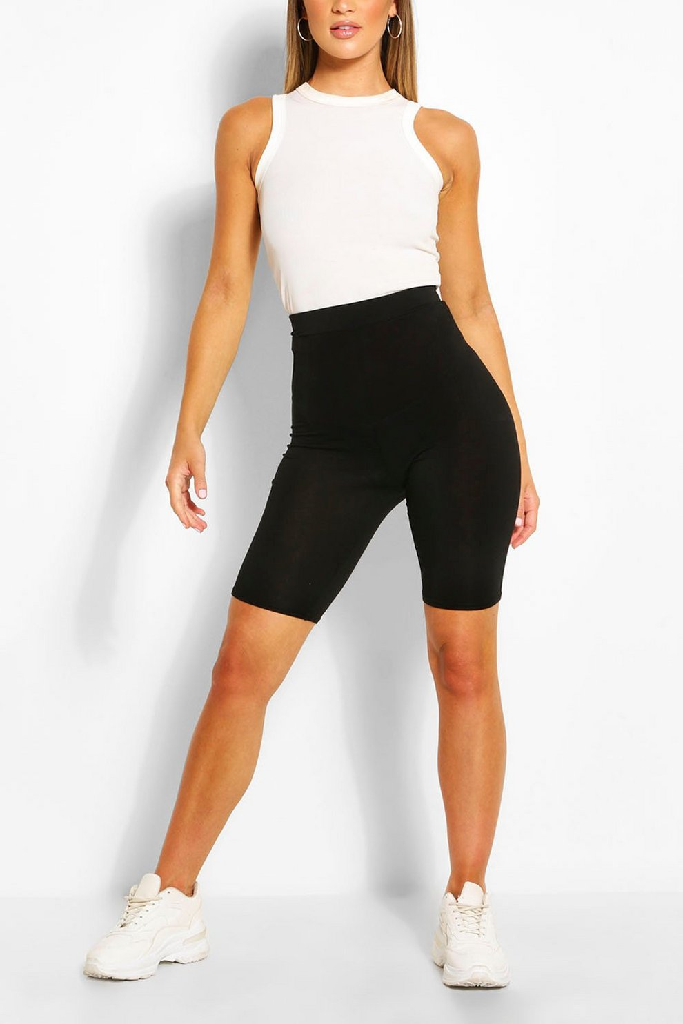 343daaa34540 Basic Solid Black Cycling Shorts | Boohoo