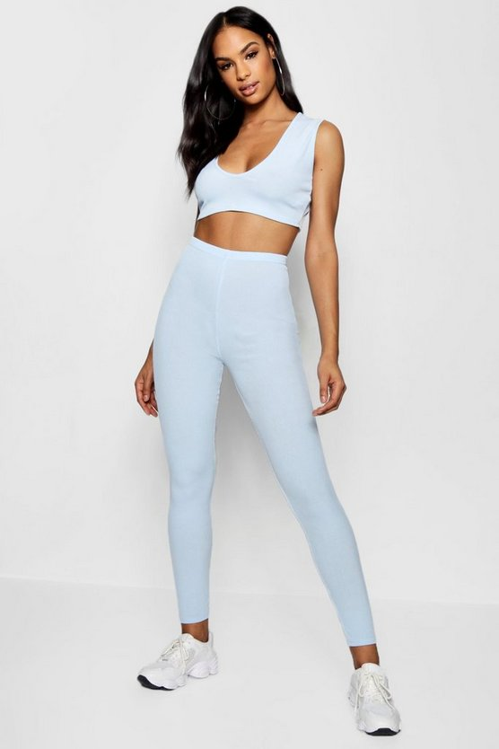 V Neck Crop Top Skinny Trouser Co-ord Set